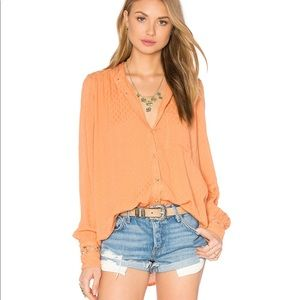 Free People The Best Button Down Blouse Peach
